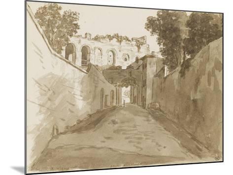 Chemin encaissé entre de hautes murailles et ruines-Pierre Henri de Valenciennes-Mounted Giclee Print
