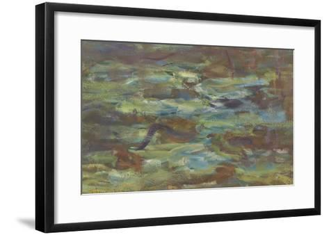 Les Nymph� : Soleil couchant-Claude Monet-Framed Art Print