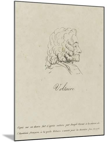 Voltaire (1694-1778), Represented Old, Profile, 1778-Claude Joseph Vernet-Mounted Giclee Print