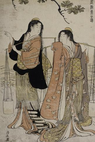Femmes des marais salants-Torii Kiyonaga-Stretched Canvas Print