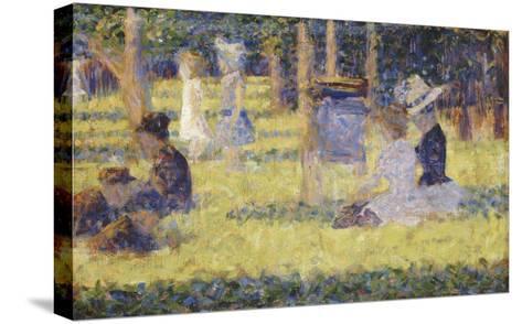 femmes assises et voiture d'enfant-Georges Seurat-Stretched Canvas Print
