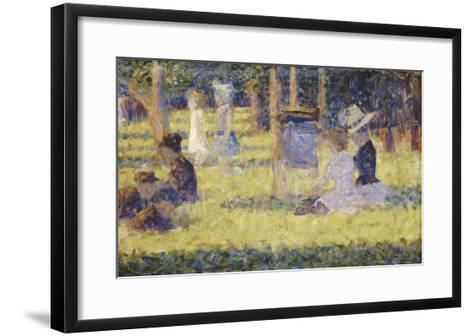 femmes assises et voiture d'enfant-Georges Seurat-Framed Art Print
