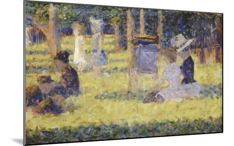 femmes assises et voiture d'enfant-Georges Seurat-Mounted Giclee Print