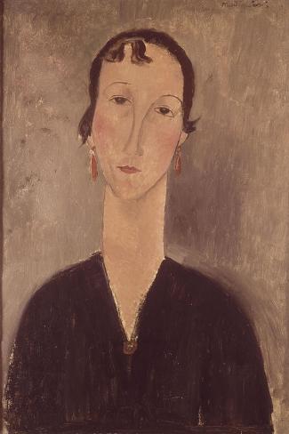 Femme aux boucles d'oreilles-Amedeo Modigliani-Stretched Canvas Print