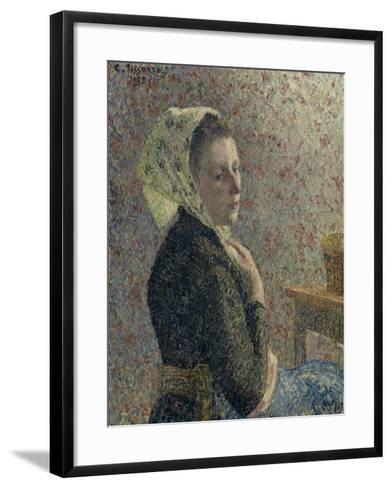Femme au fichu vert-Camille Pissarro-Framed Art Print