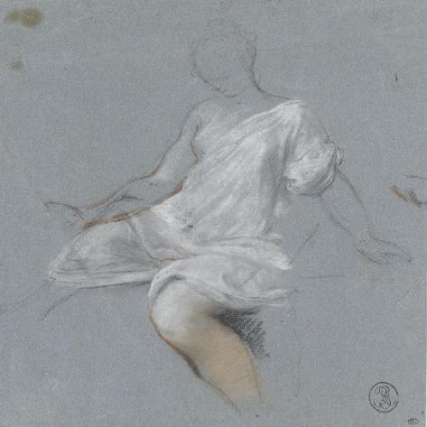 Femme assise, en chemise, tournée vers la gauche-Nicolas Vleughels-Stretched Canvas Print