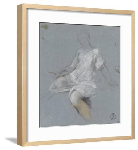 Femme assise, en chemise, tournée vers la gauche-Nicolas Vleughels-Framed Art Print