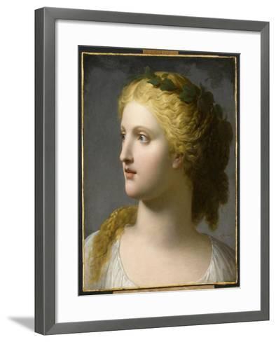 Tête de femme couronnée de laurier-Charles Paul Landon-Framed Art Print