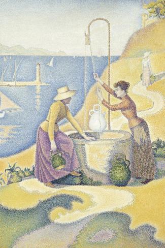 Femmes au puits, ou Jeunes Provençales au puits-Paul Signac-Stretched Canvas Print