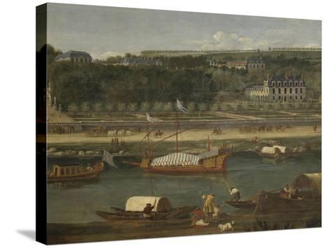 Vue de la Grande Cascade, des parterres et du château de Saint-Cloud prise de la Seine avant 1671-der Meulen Adam Frans Van-Stretched Canvas Print