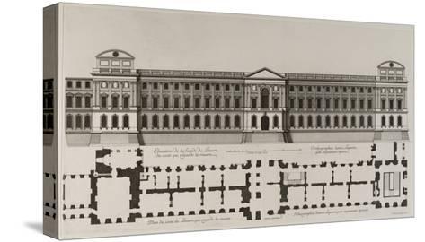 Elévation de la façade du Louvre du côté qui regarde la rivière, et plan du côté du Louvre qui-Jean Marot-Stretched Canvas Print