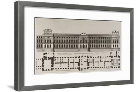 Elévation de la façade du Louvre du côté qui regarde la rivière, et plan du côté du Louvre qui-Jean Marot-Framed Art Print
