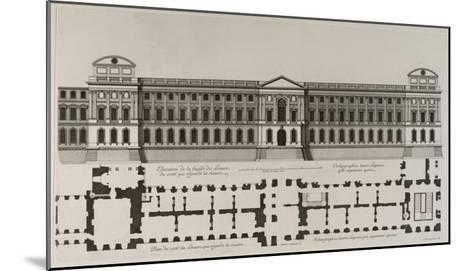 Elévation de la façade du Louvre du côté qui regarde la rivière, et plan du côté du Louvre qui-Jean Marot-Mounted Giclee Print