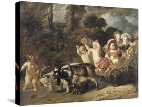 Enfants nobles (famille Trip?) dans un char trainé par des chèvres (dit autrefois : les enfants de-Ferdinand Bol-Stretched Canvas Print