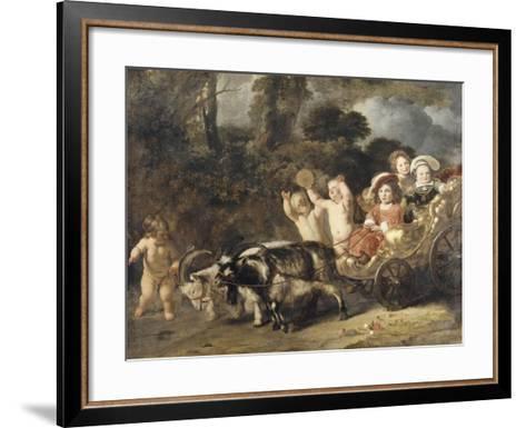 Enfants nobles (famille Trip?) dans un char trainé par des chèvres (dit autrefois : les enfants de-Ferdinand Bol-Framed Art Print