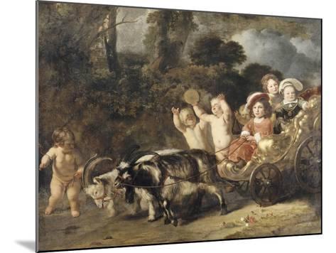 Enfants nobles (famille Trip?) dans un char trainé par des chèvres (dit autrefois : les enfants de-Ferdinand Bol-Mounted Giclee Print