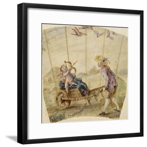 Album factice :Fragment d'éventail: jeune homme poussant une brouette où est assis un amour--Framed Art Print