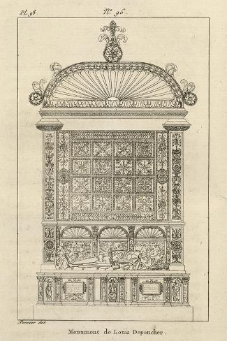Musée des Monuments Français tome 3, par Alexandre Lenoir: planche 98: tombeau de Louis de-Charles Percier-Stretched Canvas Print