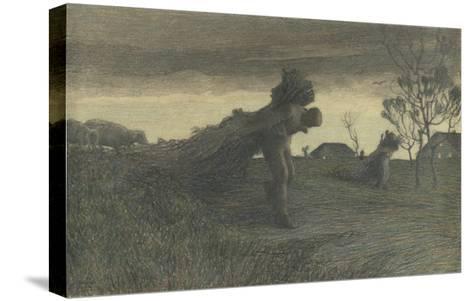 Le Dernier labeur du jour ou porteurs de fagots ou retour de la forêt-Giovanni Segantini-Stretched Canvas Print