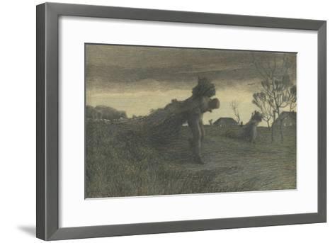 Le Dernier labeur du jour ou porteurs de fagots ou retour de la forêt-Giovanni Segantini-Framed Art Print