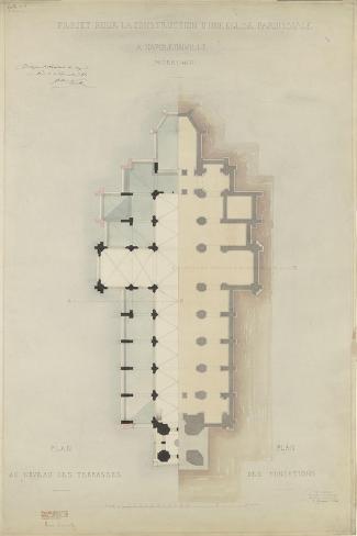 Eglise paroissiale à Napoléonville (Pontivy, Morbihan) : plan au niveau des terrasses, plan des-Marcellin Varcollier-Stretched Canvas Print