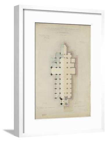 Eglise paroissiale à Napoléonville (Pontivy, Morbihan) : plan au niveau des terrasses, plan des-Marcellin Varcollier-Framed Art Print