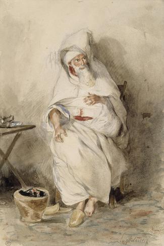 Arabe assis près d'un brasero ou Portrait d'Amin-Bias ministre  Finances et  Affaires Etrangères-Eugene Delacroix-Stretched Canvas Print