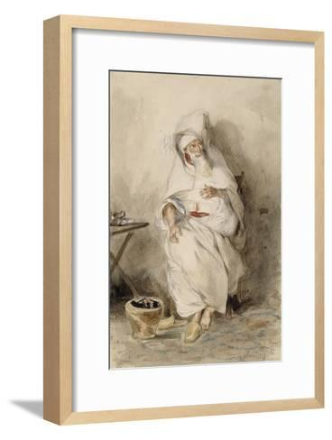 Arabe assis près d'un brasero ou Portrait d'Amin-Bias ministre  Finances et  Affaires Etrangères-Eugene Delacroix-Framed Art Print