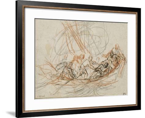 Jésus apaise la tempête ou la vocation de Simon-Pierre et André-Joseph Parrocel-Framed Art Print
