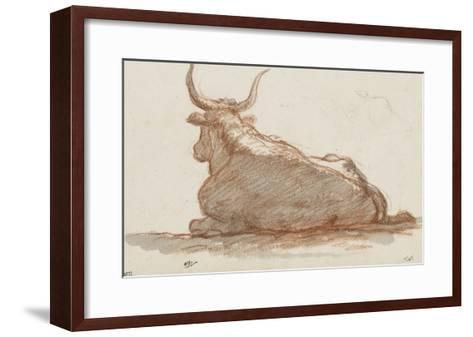 Album : un boeuf (?) couché et esquisse d'une tête de cheval-Jacques-Louis David-Framed Art Print