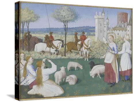 Suffrage des Saints du Livre d'Heures d'Etienne Chevalier : Sainte Marguerite et Olibrius dit-Jean Fouquet-Stretched Canvas Print