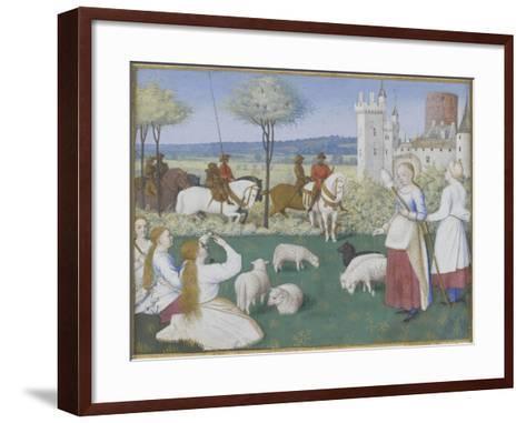 Suffrage des Saints du Livre d'Heures d'Etienne Chevalier : Sainte Marguerite et Olibrius dit-Jean Fouquet-Framed Art Print