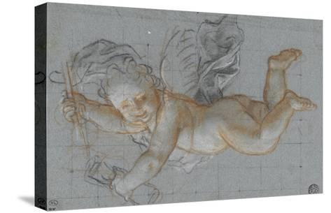 Un amour planant dans les airs, un objet dans chaque main ; deux amours volant se donnant la main-Antoine Coypel-Stretched Canvas Print
