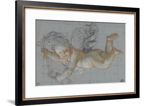 Un amour planant dans les airs, un objet dans chaque main ; deux amours volant se donnant la main-Antoine Coypel-Framed Art Print