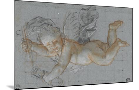Un amour planant dans les airs, un objet dans chaque main ; deux amours volant se donnant la main-Antoine Coypel-Mounted Giclee Print