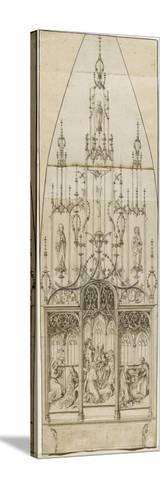 Etude pour un retable d'autel; scènes de l'Annonciation, de l'Adoration des Mages, de la Nativité;-Martin Schongauer-Stretched Canvas Print