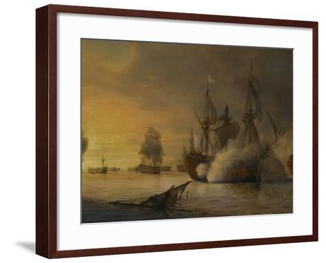 """Combat naval entre le vaisseau français """"l'Intrépide"""" commandé par le comte de Vaudreuil,-Pierre Julien Gilbert-Framed Art Print"""
