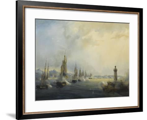 L'escadre française commandée par l'amiral Roussin force l'entrée du Tage devant Lisbonne, 11-Pierre Julien Gilbert-Framed Art Print