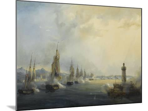 L'escadre française commandée par l'amiral Roussin force l'entrée du Tage devant Lisbonne, 11-Pierre Julien Gilbert-Mounted Giclee Print