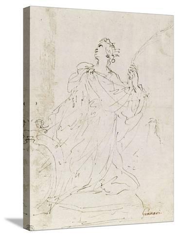 Suzanne au bain ; L'amour bandant son arc ; Sainte Catherine agenouillée, regardant le ciel-Guerchin Le-Stretched Canvas Print