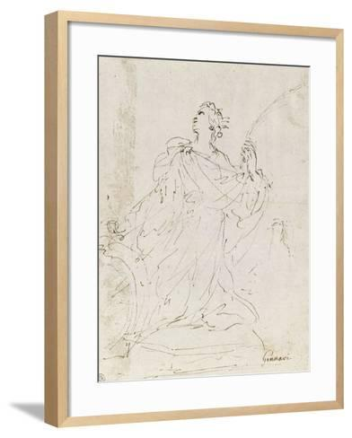 Suzanne au bain ; L'amour bandant son arc ; Sainte Catherine agenouillée, regardant le ciel-Guerchin Le-Framed Art Print