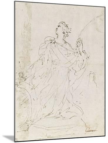 Suzanne au bain ; L'amour bandant son arc ; Sainte Catherine agenouillée, regardant le ciel-Guerchin Le-Mounted Giclee Print