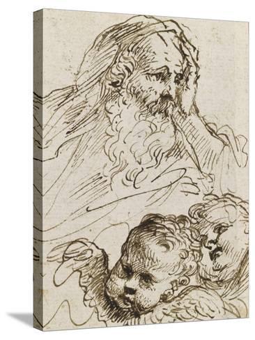 Demi-figure de vieillard et deux têtes d'anges ; Demi-figure d'homme nu, assis, tourné vers droite-Guerchin Le-Stretched Canvas Print