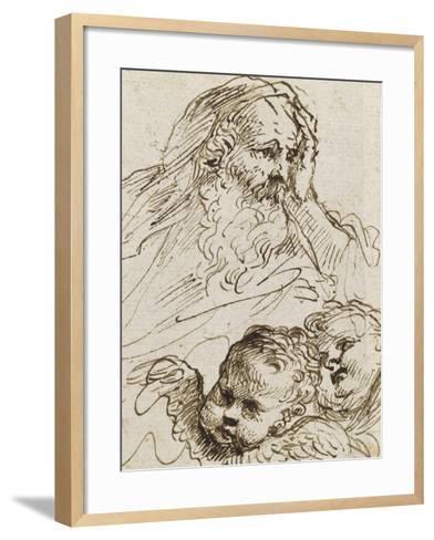 Demi-figure de vieillard et deux têtes d'anges ; Demi-figure d'homme nu, assis, tourné vers droite-Guerchin Le-Framed Art Print