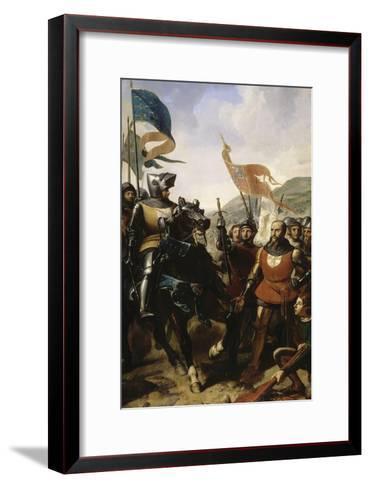Bataille de Cocherel, prés d'Evreux gagnée par Du Guesclin sur les troupes du roi de Navarre, le-Charles Philippe Larivière-Framed Art Print