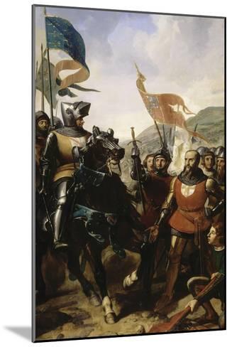 Bataille de Cocherel, prés d'Evreux gagnée par Du Guesclin sur les troupes du roi de Navarre, le-Charles Philippe Larivière-Mounted Giclee Print