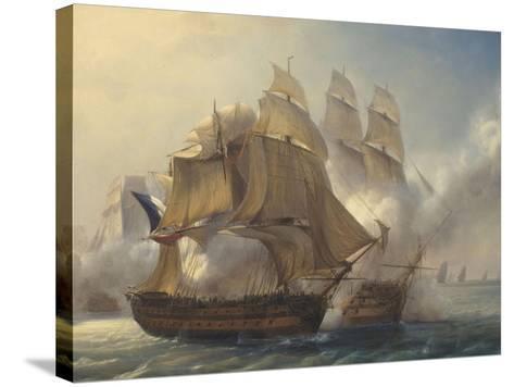 Combat du vaisseaux français le Romulus contre trois vaisseaux anglais à l'entrée de la rade de-Pierre Julien Gilbert-Stretched Canvas Print