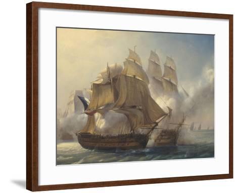 Combat du vaisseaux français le Romulus contre trois vaisseaux anglais à l'entrée de la rade de-Pierre Julien Gilbert-Framed Art Print