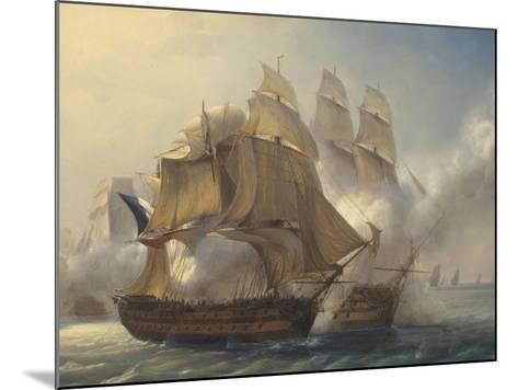 Combat du vaisseaux français le Romulus contre trois vaisseaux anglais à l'entrée de la rade de-Pierre Julien Gilbert-Mounted Giclee Print