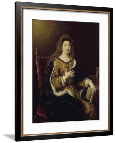 Françoise d'Aubigné, marquise de Maintenon, représentée en Sainte Françoise Romaine vers 1694-Pierre Mignard-Framed Art Print